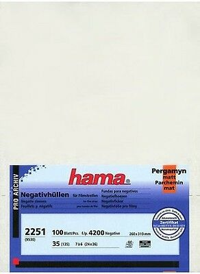100 Hama Negative Glassine Sleeves Feuillets Museum Quality 135 35mm Film Strips