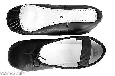 Leather Ballet Dance Shoes, Black,  Full Sole Leather with elastics. All Sizes