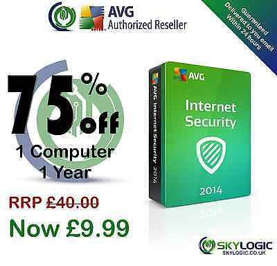 AVG Internet Security 2014 - 1 Computer 1 Year Protection | License Key Only