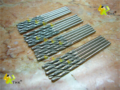 20 pieces 2MM THK Diamond coated tipped TWIST drill bit bits glass tile