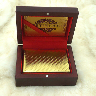 24k 999.9% Genuine Gold Plated Poker Playing Cards Deck With Wooden Box New