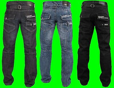 Mens ENZO JEANS Designer Regular Fit Light Dark Denim Black New Sale Size 28-48