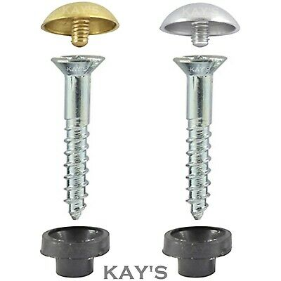 Mirror Fixing Screws With Brass Or Chrome Dome Cover Caps & Protective Inserts