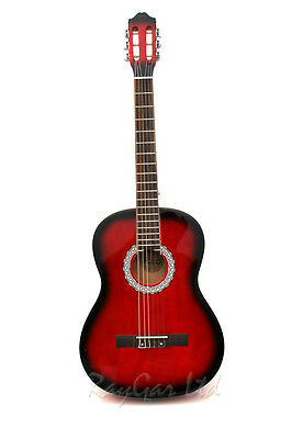 Rio 39'' Full Size 4/4 Beginner Classical Acoustic Guitar Pack Package Red