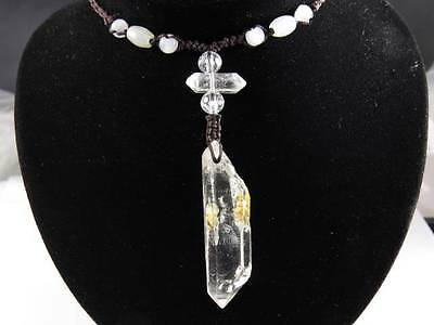Natural lemurian Seed Quartz Crystal  DT Point Wicca Fengshui Necklace Healing~A