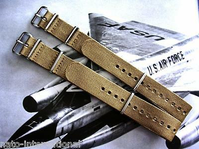 NATO G10 Khaki Brown Ballistic Nylon Military watchband strap IW SUISSE 18-20-22