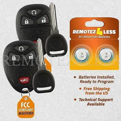 2 New Replacement Keyless Remote Car Fob for 15913421 + Circle Plus Keys n Clips