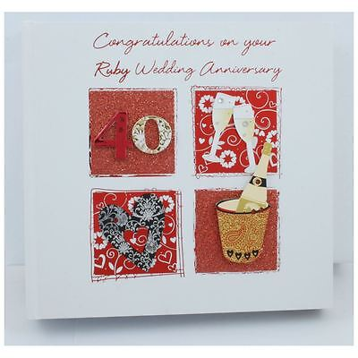 """Talking Pictures 6"""" x 4"""" Photo Album - Ruby Wedding 40th Anniversary Gifts"""