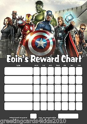 Personalised Avengers Reward Chart & Pen - with or without photo
