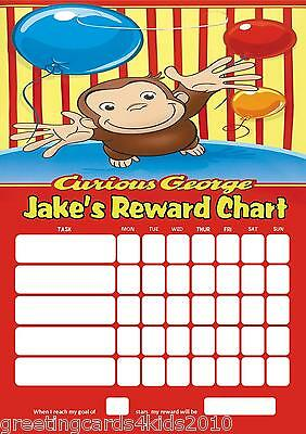 Personalised Curious George Reward Chart & Pen - with or without photo
