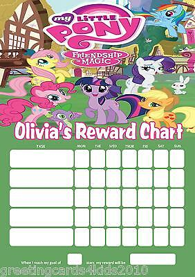 Personalised My Little Pony Reward Chart & Pen - with or without photo