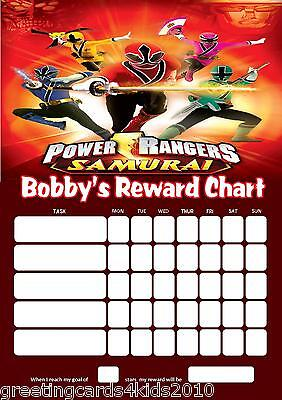 Personalised Power Rangers Reward Chart & Pen - with or without photo