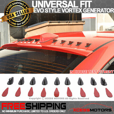 Fit For Toyota Vortex Generator Black PP EVO-Style Roof Shark Fins Spoiler Wing