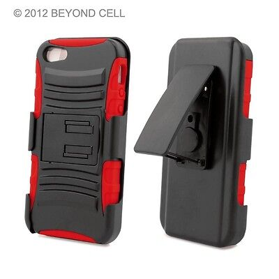 30 x For APPLE IPHONE 5 5S BLACK RED RUGGED ARMOR STAND SKIN CASE COVER + CLIP