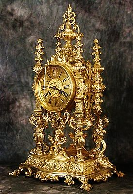 Stunning Very Large French Antique Empire Japy Freres Gilt Syolid Bronze Clock