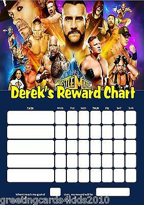 Personalised Wrestlemania WWE Reward Chart & Pen with or without photo