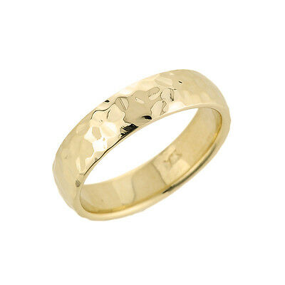 14k Gold Hammered Classic Comfort Fit Round Edge Wife Husband Wedding Band