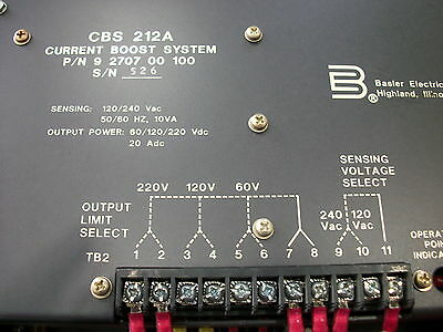 Basler electric CURRENT BOOST SYSTEM CBS212A  ``NICE``