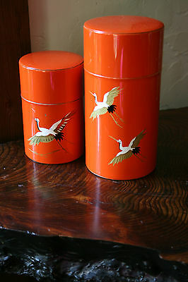 Set Of Vintage Chinese Crain Hand Painted Metal Tea Caddys Canisters