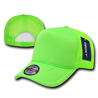 NEON GREEN TRUCKER HAT Plain Blank CURVE BILL Cap vtg retro mesh snapback  party 55f493671eeb