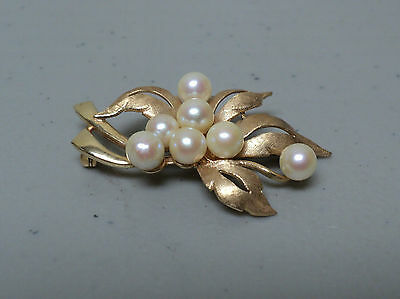 Vintage Estate 14 K Yellow Gold Pearl Leaf Brooch, 8.8 Grams