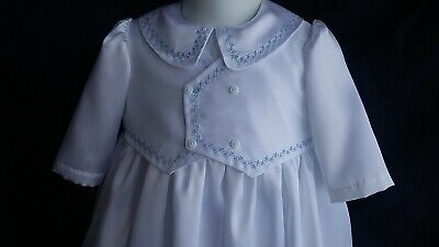 Baby Boys Satin Christening Gown Baptism Outfit W/ Silk Shantung Vest   0-12M