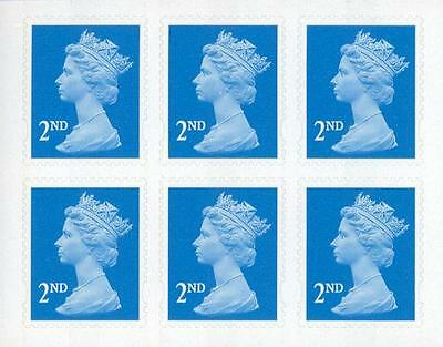 6 x 2ND CLASS STAMPS - - -Brand New Royal Mail Postage Stamps, UK letter Second