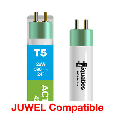 3 x iQuatics 28w JUWEL Compatible T5 Blue Actinic-Spectrum peaks at 420nm