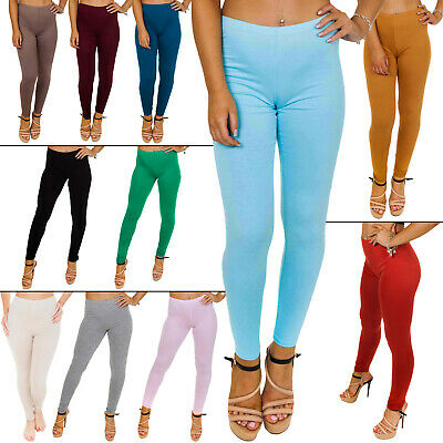 New Ladies Womens Full Ankle Length Plain Colours leggings All Size S M L XL XXL