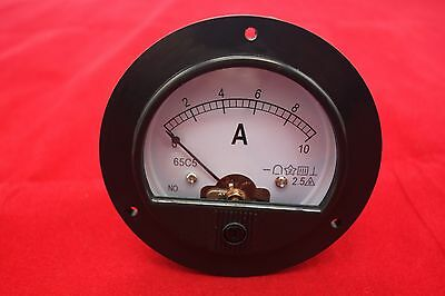DC 0-10A  Round Analog Ammeter Panel AMP Current  Meter DH62 directly Connect