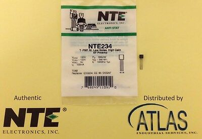 Nte Nte234 Transistor Pnp Silicon 120V Ic=0.1A To-92 Case Low Noise High-Gain
