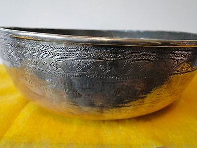 Middle Eastern Bowl Sterling Silver C 1850, Antique Rare, Engraved Thick Guage