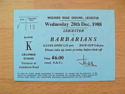 Leicester v Barbarians 1988 Used Rugby Ticket