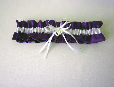 Wedding Garter  - S, M, L - Purple/white