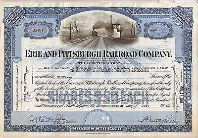 Erie and Pittsburgh Railroad Company Stock Certificate Pennsylvania Blue