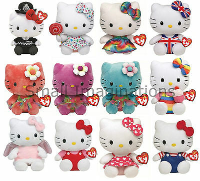 TY 6 inch Hello Kitty Plush Cat Teddy - Soft Toy - Choose From Many Designs