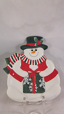 Fitz & Floyd Christmas Holiday Snowman Plate Canape with package