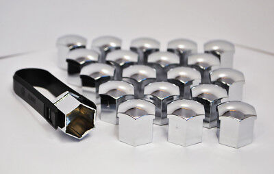 20 x 19MM HEX ALLOY WHEEL NUT BOLT COVERS Chrome + Removal Tool Volvo S40