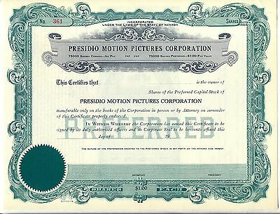 Presidio Motion Pictures Corporation Stock Certificate Nevada Movie
