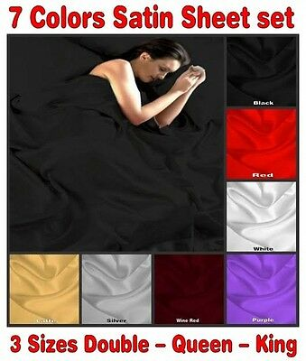 King Queen Double 250TC Satin Silky Sheet Set Black Red Purple Wine Silver White