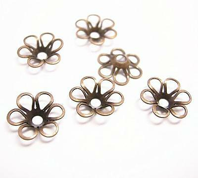 30pc 11mm antique copper finish lead nickel free brass made beads caps-8296