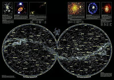 Stars Map, Chart Constellations of Northern & Southern Hemispheres GIANT POSTER