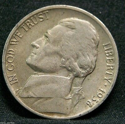 1938 D Jefferson Nickel, Circulated Key Date, Low Mintage-5.3 Million-Free Ship