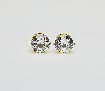 18ct/18K Gold Plated Clear Round Cubic Zirconia Stud Earrings Men/Women Gift