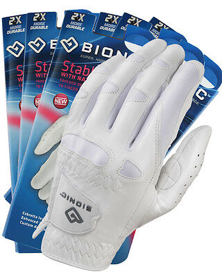 6 BIONIC Ladies Stable Grip Golf Gloves - White Leather - NEW Style - Right&Left