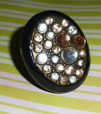 Vintage Lucite? Black Oval Brass Ring w/ Pink & Clear Crystals-Sz 6