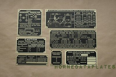 Jeep Willys Md M38A1 With Winch Brass Data Plates Set W/wn G-758 M38 M170