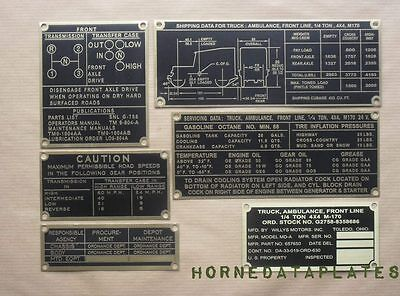 P62 Jeep Willys M38 G740 Service data plate brass