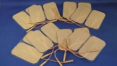 16 Replacement Electrode Pads for Massagers /Tens Units  2 x 3.5inch Tan Cloth