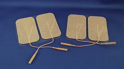 4 Replacement Electrode Pads for Massagers /Tens Units  2 x 3.5inch Tan Cloth